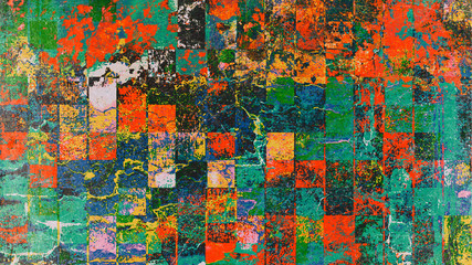 Colorful painting art, mosaic square background illustration with grunge style effect.