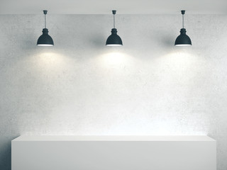 Blank concrete wall, podium and three lamp.