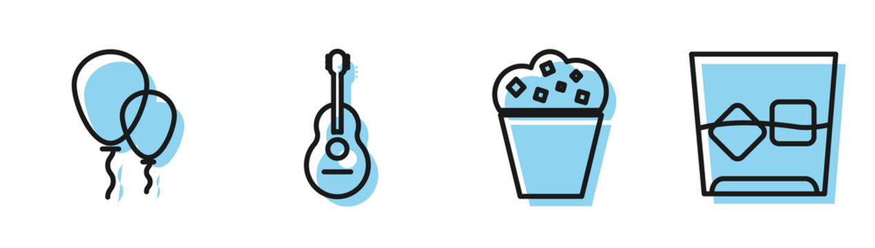 Set line Popcorn in cardboard box , Balloons with ribbon , Guitar and Glass of whiskey and ice cubes icon. Vector