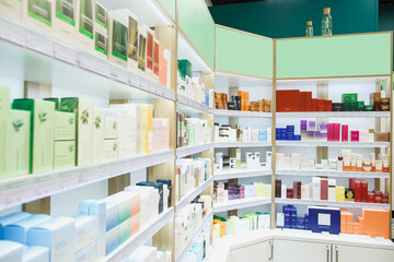Fotobehang Apotheek Modern stylish showcases with cosmetic products in the cosmetics store.
