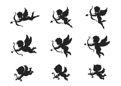 cupid icon set. love symbol and valentine's day design element. shooting arrow cupids