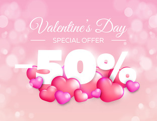Valentine day special offer banner. Vector sale badge design. Lovely red and pink hearts on color background. 50% off discount.