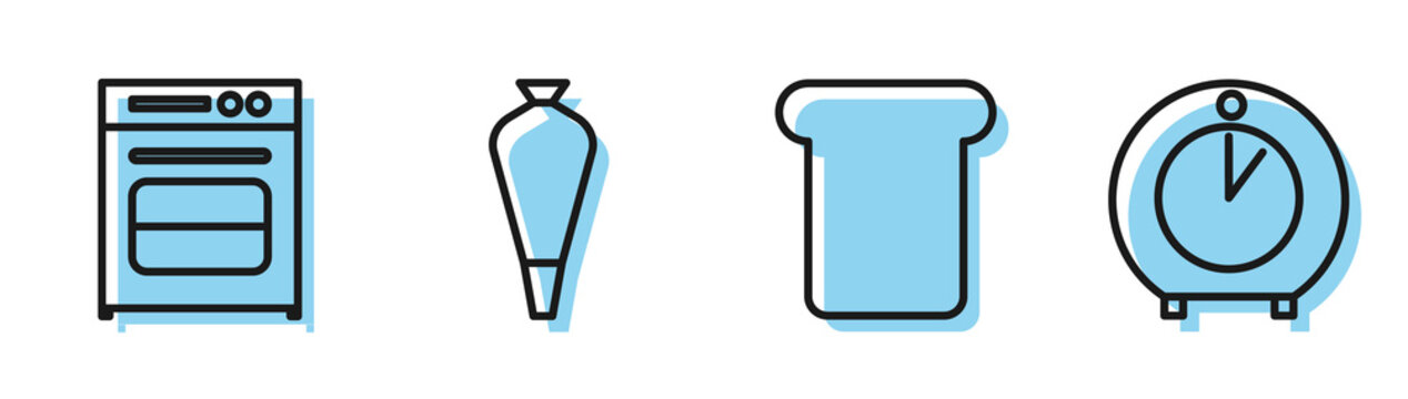 Set line Bread toast, Oven , Pastry bag for decorate cakes and Kitchen timer icon. Vector