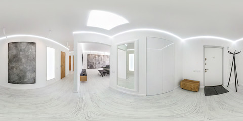 full seamless spherical hdri panorama 360 degrees angle view in modern entrance hall of corridor rooms in white style in equirectangular projection, AR VR content