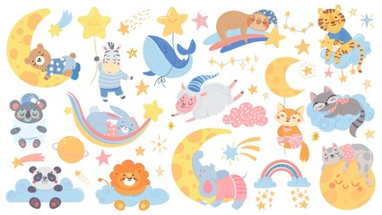 Isolated set with cute sleeping animal. Collection with stars, moon and cloud. Sweet dream. Good night. Pajamas party with pillow. Vector illustration