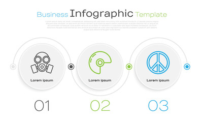 Set line Gas mask , Military helmet and Peace . Business infographic template. Vector
