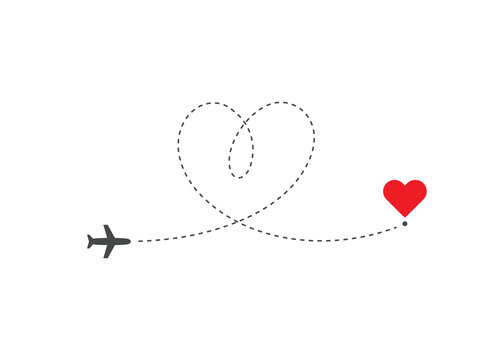 Heart shaped airplane flying on love route to destination in heart shape. Way to heart symbol. Isolated vector illustration for Valentines Day.