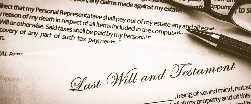 Last Will And Testament Document With Pen And Reading Glasses - Death And Inheritance Concept