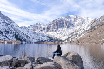 millennial travel to see the world lifestyle.woman in the mammoth mountain and convict lake . california