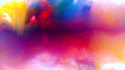 Fototapete - 4K, Color paint drops in water , abstract color mix , drop of Ink color mix paint falling on water Colorful ink in water, 4K footage,