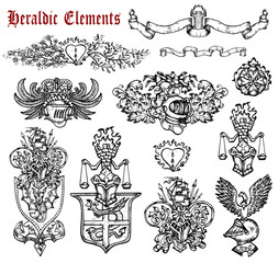 Design set with heraldic elements isolated on white.