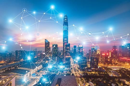 Urban skyline and 5g big data concept in Futian District, Shenzhen