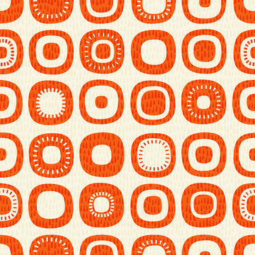 Abstract seamless pattern of rounded squares with random details. Mid century modern Scandinavian style. For fabrics, prints, wallpaper, home decor.