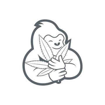gorilla hugging canabis cartoon drawing vector
