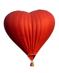 Canvas Prints Balloon Red hot air balloon in heart shape isolate on white. Symbol of love and valentines. Complete with clipping path for object.