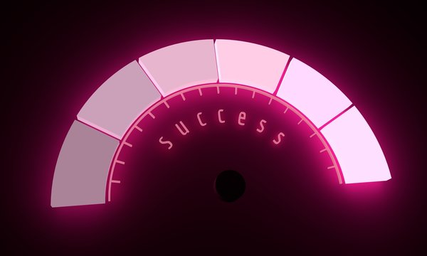 Neon shine scale. Success level measuring device icon. Sign tachometer, speedometer, indicators. Infographic gauge element. 3D rendering