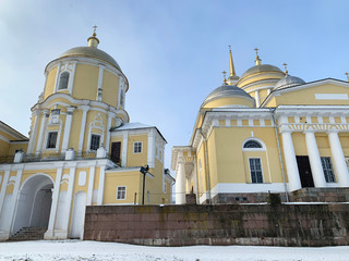 Nilo-Stolobenskaya (Nilov) hermitage-Orthodox monastery in winter in cloudy weather. Russia, Tver region