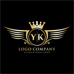 YK Letter Initial with Royal Wing Logo Template.