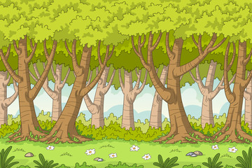 Wall Mural - Cartoon forest background. Vector illustration with separate layers.