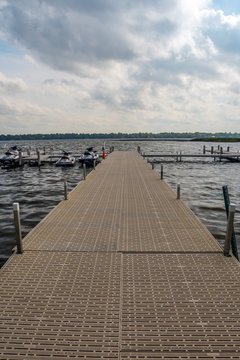 A very long boardwalk surrounded by the bay in Alexandria, Minnesota