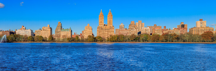 Canvas Prints New York Panorama of New York Manhattan Upper west side skyline across the Jacqueline Kennedy Onassis Reservoir in Central Park