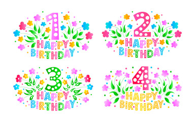 Greeting Card Set. Postcards for the celebration of the 1st, 2nd, 3rd and 4th anniversary. Happy Birthday cards for a little girl. Colored text, flowers and confetti on a Classic blue background.
