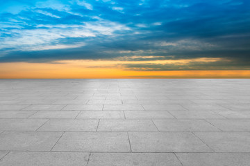Acrylic Prints Pale violet Empty floor tiles and sky natural landscape