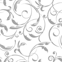 Gray and white elegant floral swirls paper cut out seamless pattern, vector