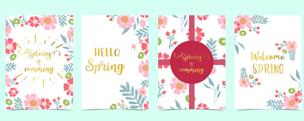 Wall Mural - Collection of spring background set with pink flower, green leaves,geometric.Editable vector illustration for website, invitation,postcard and sticker.Include wording welcome spring, hello spring
