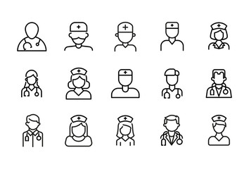 Simple set of doctor modern thin line icons.