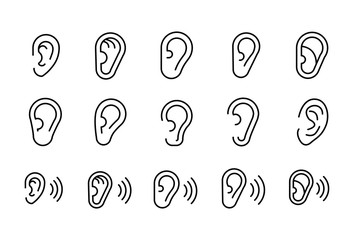 Simple set of ear modern thin line icons.