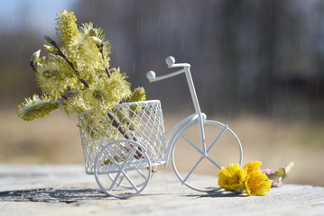 Aluminium Prints Bicycle bouquet of flowers in a basket