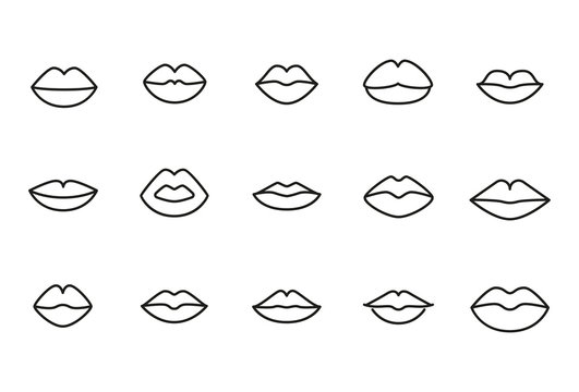 Premium set of lips line icons.