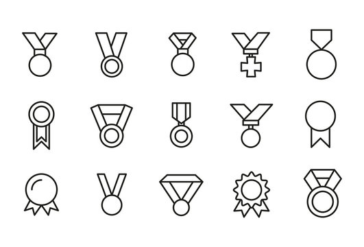 Vector line icons collection of medal.