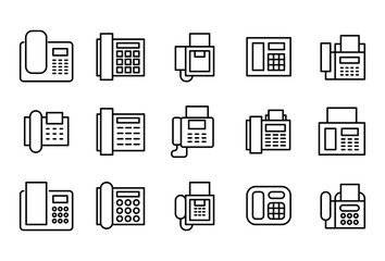 Simple set of fax modern thin line icons.