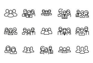 Simple set of team modern thin line icons.