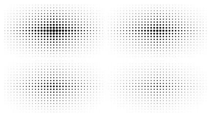 Set of Halftone gradient textures isolated on white background. Comic dotted pattern using halftone circle dot raster texture. Pop art retro style. Vector blot half tone collection.