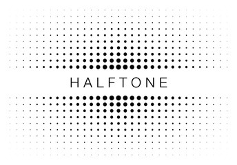 Wall Mural - Halftone gradient texture frame isolated on white background. Comic dotted pattern using halftone circle dot raster texture. Pop art retro style. Vector blot half tone border.