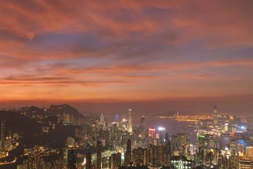 Fototapete - Sunset over Hong Kong City
