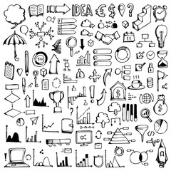 Set of Data Drawing illustration Hand drawn doodle Sketch line vector eps10