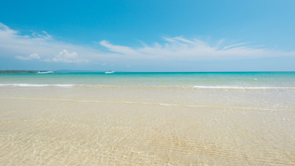 Wall Mural - Bright water with white sandy at shollow sea, Wonderful turquois sea and beach , located  Phatong beach, Phuket Province , Thailand