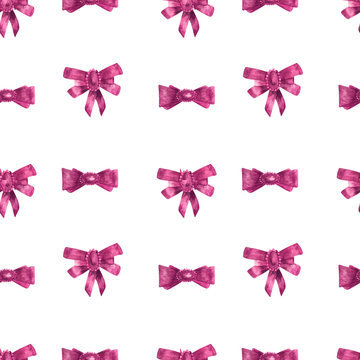 Pink bow watercolor seamless pattern on white background for design of paper and textile.