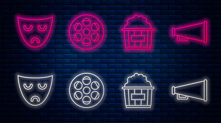 Set line Film reel , Popcorn in cardboard box , Drama theatrical mask and Megaphone . Glowing neon icon on brick wall. Vector