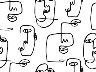 One line art abstract drawing of faces in black. Seamless vector pattern