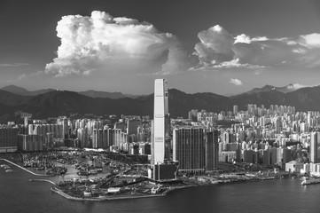 Fototapete - Victoria Harbor of Hong Kong city at dusk