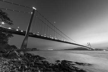 Fototapete - Tsing Ma bridge in Hong Kong at dusk
