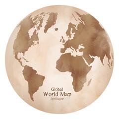 水彩風のおしゃれなアンティーク世界地図、地球儀