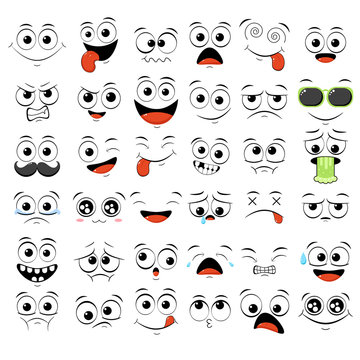 Set of emoticons with different mood