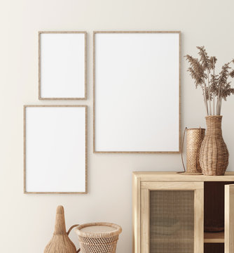 Mock up frame in home interior with rattan furniture, Scandi-boho style, 3d render