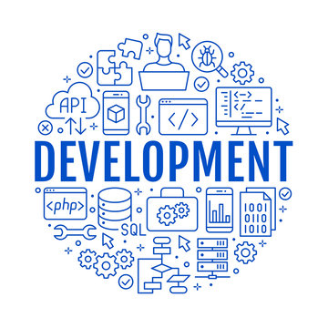 Software development circle poster with flat line icons. Programming language flyer, application, api, computer tester, program develop vector illustration. Outline concept for brochure design